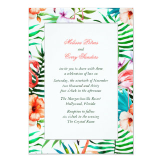 Watercolor Flamingo Wedding Invitation