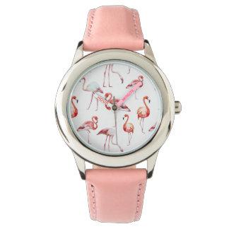Watercolor flamingo white pattern tropical bird wrist watch