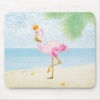 Watercolor Flamingo with Royal Crown Mouse Mat