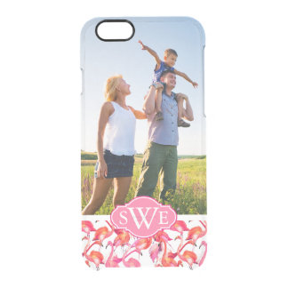 Watercolor Flamingos | Add Your Photo & Monogram Clear iPhone 6/6S Case