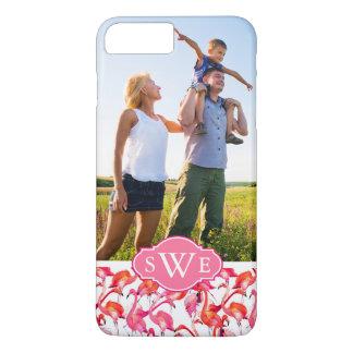 Watercolor Flamingos | Add Your Photo & Monogram iPhone 8 Plus/7 Plus Case