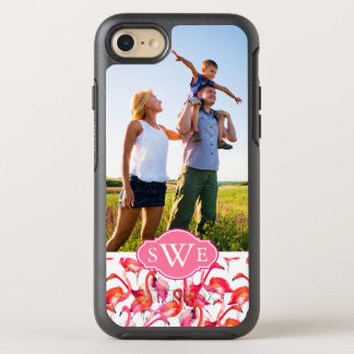 Watercolor Flamingos| Add Your Photo & Monogram OtterBox Symmetry iPhone 8/7 Case