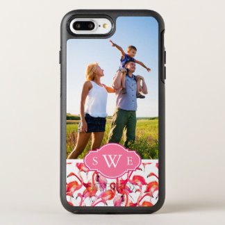 Watercolor Flamingos| Add Your Photo & Monogram OtterBox Symmetry iPhone 8 Plus/7 Plus Case