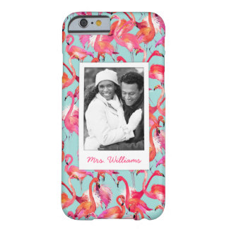 Watercolor Flamingos | Add Your Photo & Name Barely There iPhone 6 Case
