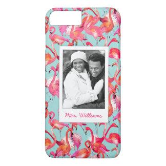 Watercolor Flamingos | Add Your Photo & Name iPhone 8 Plus/7 Plus Case