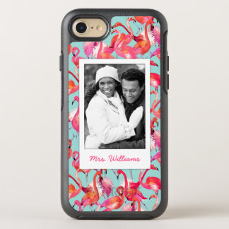 Watercolor Flamingos | Add Your Photo & Name OtterBox Symmetry iPhone 8/7 Case