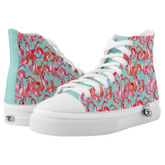 Watercolor Flamingos Gathered High Tops