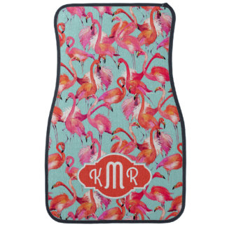 Watercolor Flamingos Gathered | Monogram Car Mat