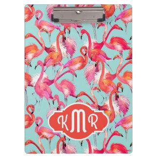 Watercolor Flamingos Gathered | Monogram Clipboard