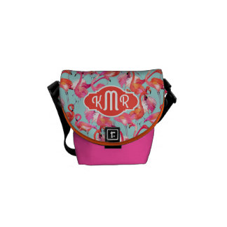 Watercolor Flamingos Gathered | Monogram Courier Bag