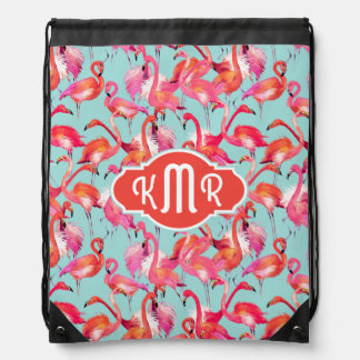Watercolor Flamingos Gathered | Monogram Drawstring Bag
