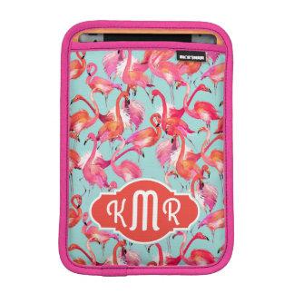 Watercolor Flamingos Gathered | Monogram iPad Mini Sleeve