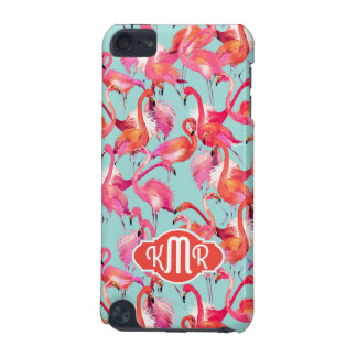 Watercolor Flamingos Gathered | Monogram iPod Touch 5G Cases