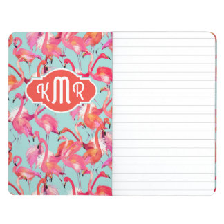 Watercolor Flamingos Gathered   Monogram Journals