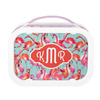 Watercolor Flamingos Gathered | Monogram Lunch Box