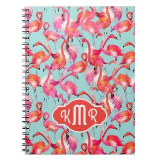 Watercolor Flamingos Gathered | Monogram Notebooks