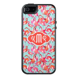 Watercolor Flamingos Gathered | Monogram OtterBox iPhone 5/5s/SE Case