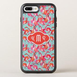 Watercolor Flamingos Gathered | Monogram OtterBox Symmetry iPhone 8 Plus/7 Plus Case