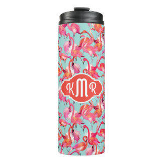 Watercolor Flamingos Gathered | Monogram Thermal Tumbler