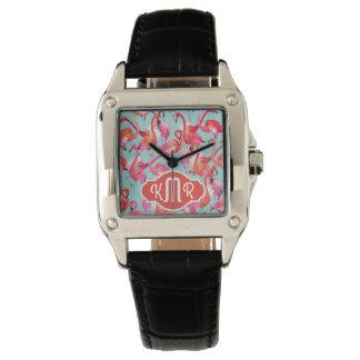 Watercolor Flamingos Gathered | Monogram Wristwatch