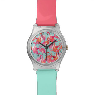 Watercolor Flamingos Gathered Wristwatch