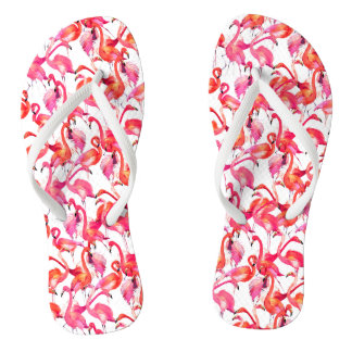 Watercolor Flamingos In Watercolors Flip Flops