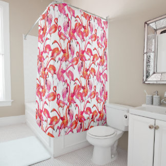 Watercolor Flamingos In Watercolors Shower Curtain