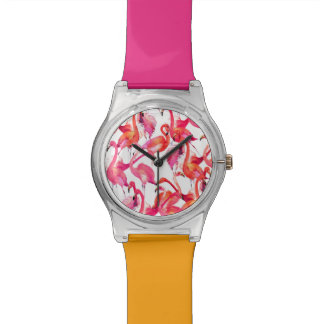 Watercolor Flamingos In Watercolors Wrist Watches