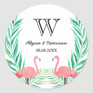Watercolor Flamingos Palm Leaves Wedding Monogram Classic Round Sticker