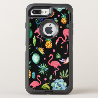 Watercolor Flamingos With Tropical Flowers & Leafs OtterBox Defender iPhone 8 Plus/7 Plus Case