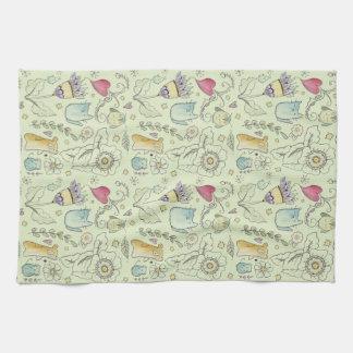 Watercolor Flora and Fauna Tea Towel
