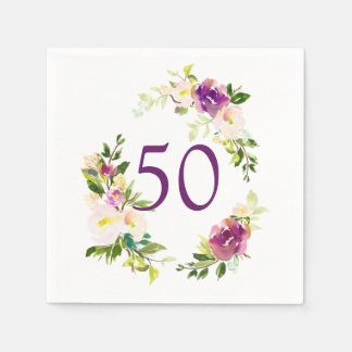 Watercolor Floral 50th Birthday Paper Napkin