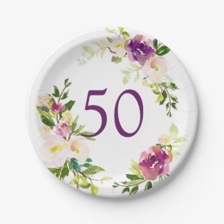 Watercolor Floral 50th Birthday Paper Plate