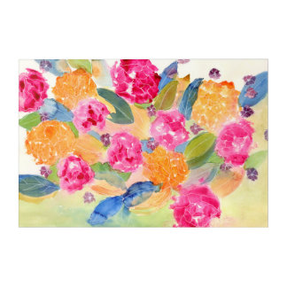 Watercolor floral acrylic print
