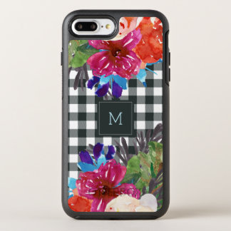 Watercolor Floral and Black Gingham with Monogram OtterBox Symmetry iPhone 8 Plus/7 Plus Case
