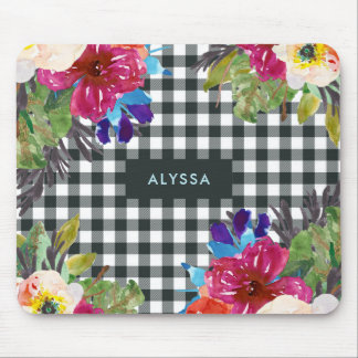 Watercolor Floral and Black Gingham with Name Mouse Mat