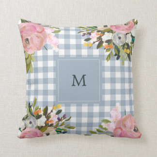 Watercolor Floral and Blue Gingham | Monogram Cushion