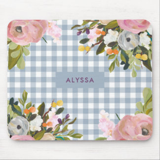 Watercolor Floral and Blue Gingham with Name Mouse Mat