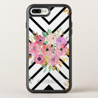 Watercolor floral and geometric diamond design OtterBox symmetry iPhone 8 plus/7 plus case