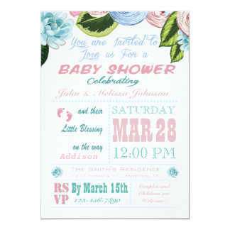 Watercolor Floral Baby Shower Invitation