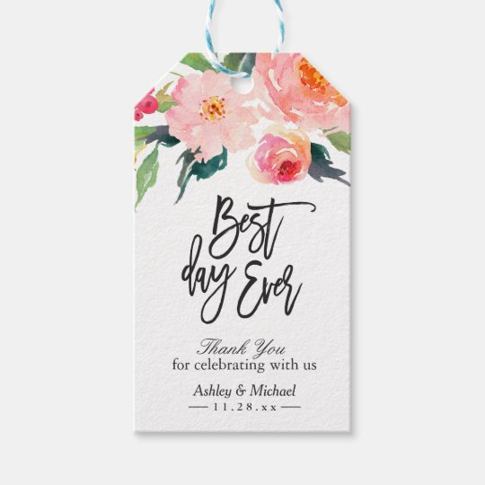 Watercolor Floral Best Day Ever Thank You Wedding Gift Tags