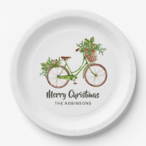Watercolor Floral Bicycle Christmas Party Paper Plate