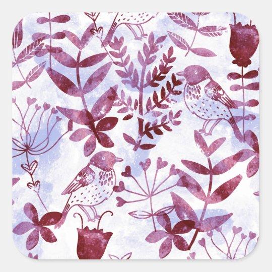 watercolor floral & birds II Square Sticker