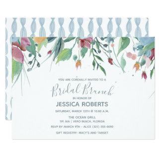 Watercolor Floral Blue Bridal Brunch Party Card