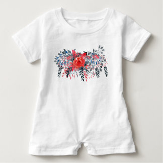Watercolor Floral Blue Denim and Red Rose Baby Bodysuit