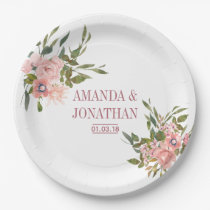Watercolor floral Blush and Rose Gold Wedding Paper Plate