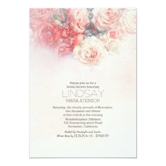 watercolor floral blush pink bridal shower card