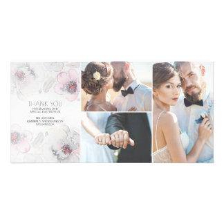 Watercolor Floral Boho Feathers Grey Soft Wedding Photo Card Template