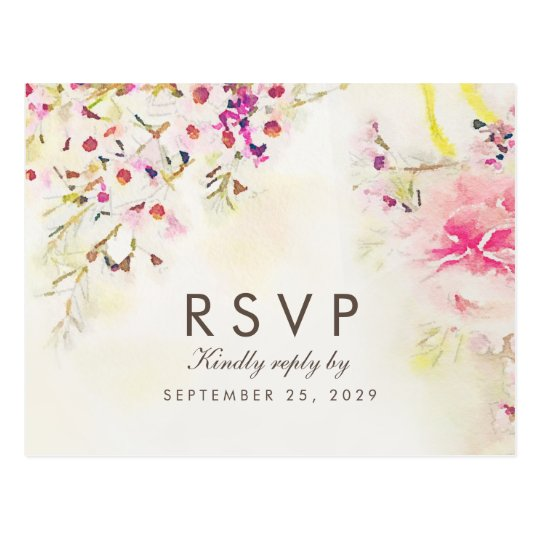 Watercolor Floral Boho RSVP Postcard Meal Choice