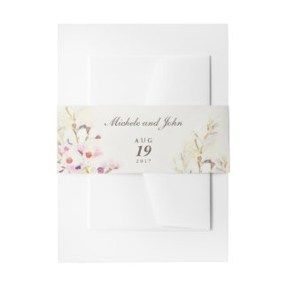 Watercolor Floral Boho Vintage Belly Bands Invitation Belly Band